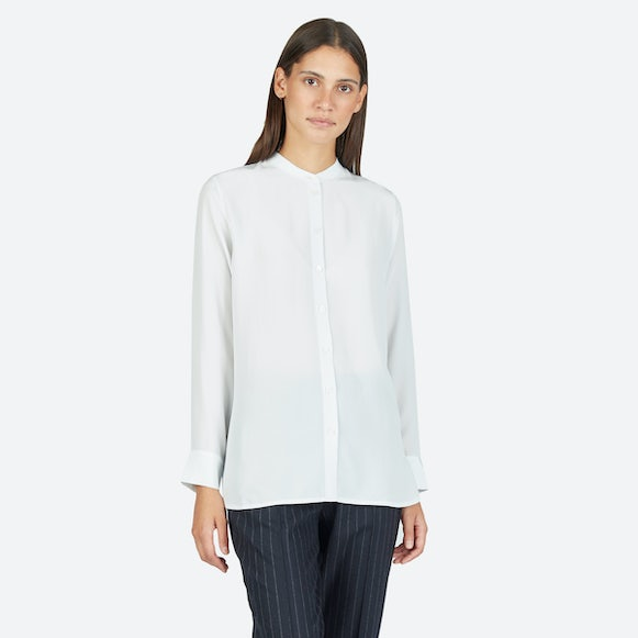 Women's Relaxed Silk Collarless Shirt | Everlane
